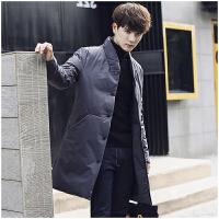 潮牌2017新款羽绒服中国风修身外套青年立领冬季男士中长款加厚潮