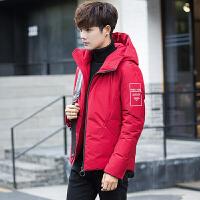 羽绒服男士韩版帅气短款修身冬季加厚外套青年男装保暖连帽冬装潮