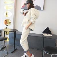 休闲套装女2018秋冬新款韩版运动服学院风连帽长袖卫衣两件套潮 乳白色