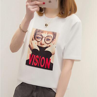 短袖t恤女宽松上衣2018夏季新款白色体恤打底衫韩版学生半袖衣服