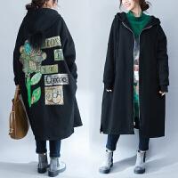 大码女装冬季女胖mm2017新款200斤韩版宽松加绒加厚棉衣文艺外套