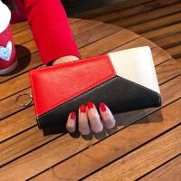 七夕礼物撞色卡包女式多卡位卡片包女士钱包长款2018新款时尚潮多功能