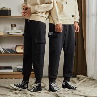 [1件2.5折价89元]冬季绒情侣装男女黑色休闲裤卫裤韩版宽松多口袋工装裤潮流