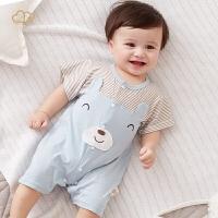 婴儿连体衣夏季哈衣爬服宝宝睡衣短袖薄款