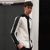 viishow秋装新款衬衫男 长袖方领纯棉衬衣 男士拼接衣服衬衫