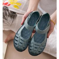 软底孕妇妈妈凉鞋女夏洞洞鞋舒适平底包头休闲防滑中老年女鞋