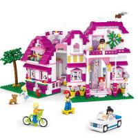 小鲁班积木女孩子拼装快乐高城堡别墅城市房子6益智7儿童8玩具10