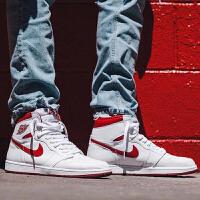 【网易考拉】Air Jordan 1 OG AJ1 元年 白红色男子休闲篮球鞋 555088-103 555088-0