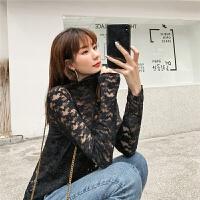 七格格雪纺上衣女2019新款夏季长袖打底衫修身黑色内搭秋季蕾丝衫
