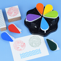 花瓣印台8色可独立上色 橡皮章手帐学生日记多用途抽拉印台