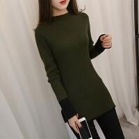时尚新款韩版女装中长款下摆开叉拼色毛衣冬潮流修身针织衫套头长袖打底衫