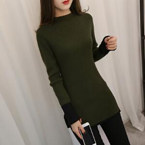 2018新款韩版女中长款下摆开叉毛衣冬潮流修身针织衫套头长袖打底