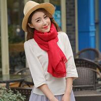 棉麻围巾女冬季超大纯色亚麻两用丝巾百搭长款旅游披肩春秋沙滩巾