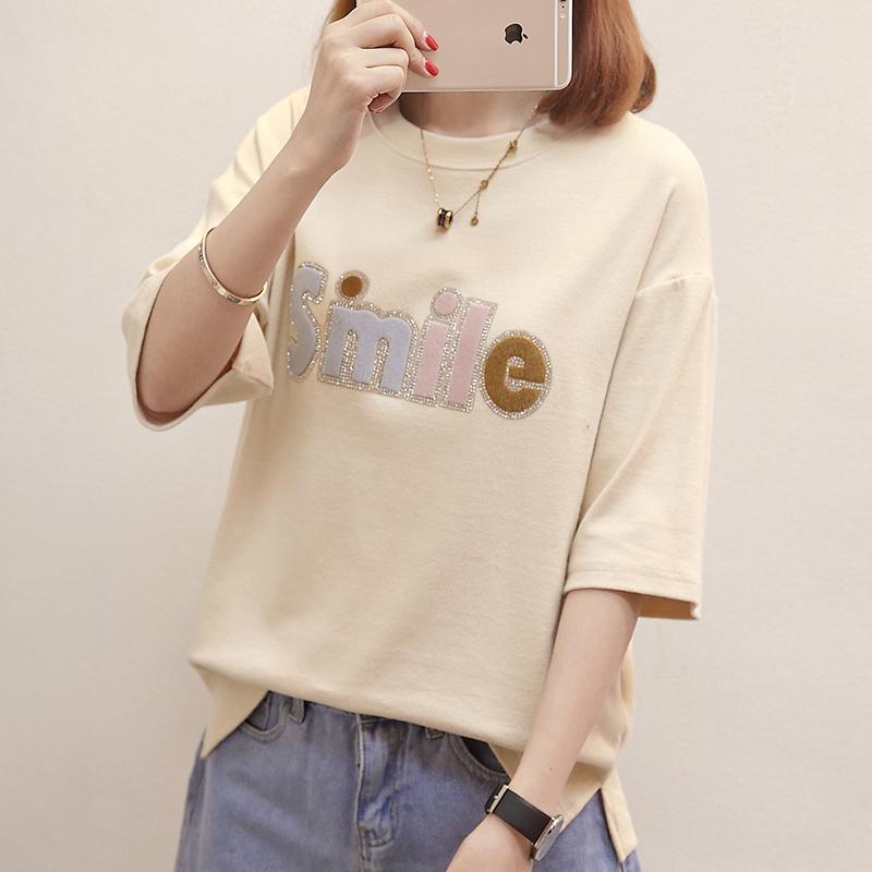 RANJU 然聚2018女装夏季新品新款短袖t恤韩版时尚字母女亮片宽松显瘦打底衫