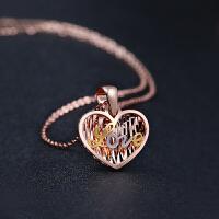JUBILEE 18K金 心型LOVE彩金项链玫瑰金750节日黄金项链 +45cm项链