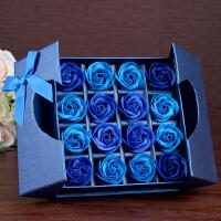 香皂玫瑰花礼盒创意个性礼品浪漫情人节送闺蜜男女朋友惊喜生日礼物 16朵蓝色渐变【礼盒】 均码