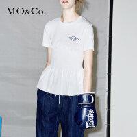MOCO个性赛车图案短袖木耳边压褶两件套T恤MA172TEE202 摩安珂