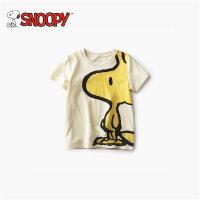 snoopy史努比夏装小男童t恤短袖1-3岁纯棉潮宝宝韩版宽松白色体恤