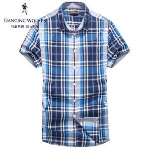 与狼共舞短袖衬衫2017夏季新品纯棉条纹格子衬衣男士上装5812