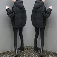 冬装新款女装韩版短款蝙蝠袖棉袄女连帽棉衣加厚大码面包服潮