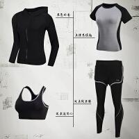 瑜伽服春夏 晨跑运动套装女四件套跑步健身服夏速干衣套装