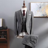 西装男套装正装三件套修身休闲韩版复古英伦风小西服