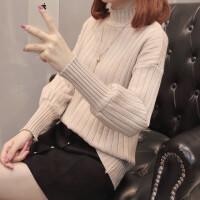 灯笼袖慵懒风半高领针织衫秋冬女装新款套头宽松冬季毛衣打底衫女