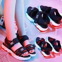 底韩版学生魔术贴沙滩鞋凉鞋女夏季中跟chic百搭松糕厚