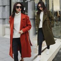 呢子大衣女中长款2017秋冬装新款韩版学生大风衣版型收腰含腰带潮