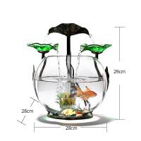 鱼缸水族箱桌面创意小型迷你圆形懒人免换水生态玻璃流水金鱼缸小