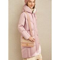【券后价:700元】Amii极简时尚白鸭绒羽绒服女2019冬季新款直筒连帽绑带长款面包服