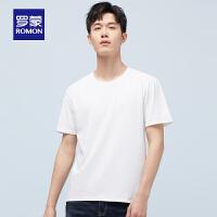 罗蒙男士短袖T恤衫2021夏季新款时尚休闲纯色打底衫中青年圆领T恤
