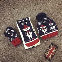 宝宝帽子围巾手套三件套冬天加绒护耳帽男女保暖套头婴儿帽毛线帽