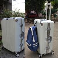 铝框拉杆箱万向轮30寸大行李箱男24防刮pc26磨砂22旅行箱20女28寸 白色 钻石款