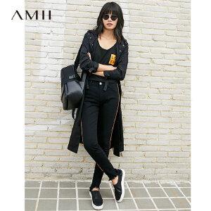 【大牌清仓 5折起】Amii[极简主义]秋新品条纹织带毛边牛仔裤11764715