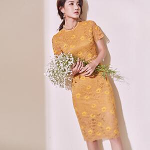 AGECENTRE蕾丝连衣裙女2018春夏新款性感镂空绣花修身短袖裙子