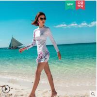 长袖保守新款分体泳衣女分体裙式学生游泳衣遮肚显瘦游泳衣女