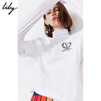 【此商品每满200减50,到手价143元】 Lily2019秋新款轻运动绣字母高领假两件长袖打底衫休闲T恤女8970