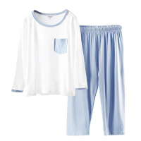 儿童睡衣夏季薄款中袖长袖男童家居服女童空调服套装