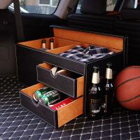 汽车内后备箱储物箱子车载整理箱车用收纳箱尾箱多功能后背置物盒 黑仿真皮单侧 (绒布+皮抽屉)