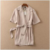 特价 秋季开衫腰带装饰短袖宽松西装外套女A@31-608