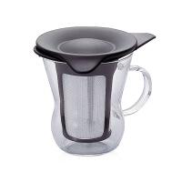 【网易考拉】HARIO 黑色茶壶创意玻璃杯/过滤网泡茶杯 200毫升