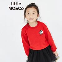 littlemoco男女童小怪兽刺绣图案长袖套头卫衣KA173SWS203