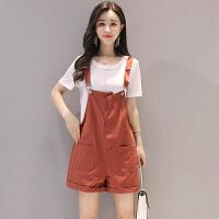 背带短裤女套装2018夏装新款女装时尚韩版显瘦休闲小个子两件套潮 棕色