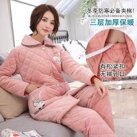冬季三层加厚珊瑚绒女士长袖夹棉睡衣套装秋冬法兰绒保暖款家居服