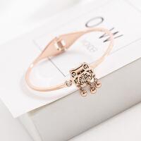 长命锁钛钢镀玫瑰金项链女 韩国气质时尚创意潮人锁骨链配饰首饰 手镯玫瑰金色