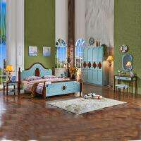 尚满 地中海风格卧室家具五件套 1.5/1.8床+床头柜*2+四门衣柜+梳妆台组合套房