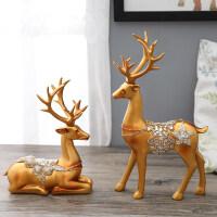 办公室鹿摆件美式麋创意家居客厅装饰品欧式酒柜电视柜玄关摆设