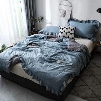 家纺韩空调被 荷叶边纯色夏被简约水洗北欧风双人纤维被夏凉被子Y