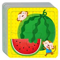 动手动脑玩拼图2-3-4岁 全6册_小红花宝宝智力儿童拼图2-3-4岁幼儿益智拼图 儿童玩具书籍 启蒙丛书左右脑开发套